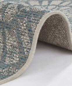 Binnen & buiten vloerkleed Arnon - turquoise/taupe - close up