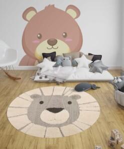 Kinderkamer vloerkleed Lion Lucky - grijs/crème - sfeer, thumbnail