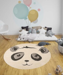 Kinderkamer vloerkleed Panda Pierre - crème/zwart - sfeer, thumbnail