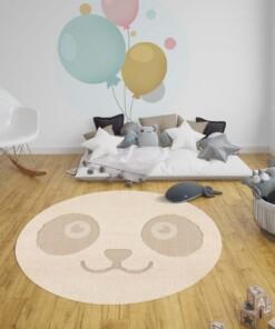 Kinderkamer vloerkleed Panda Pete - crème/beige - sfeer, thumbnail