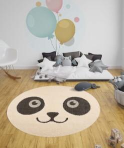 Kinderkamer vloerkleed Panda Pete - crème/zwart - sfeer, thumbnail