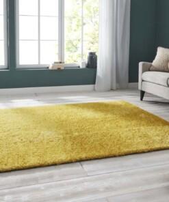 Handgetuft hoogpolig vloerkleed Supersoft - geel - sfeer, thumbnail