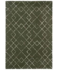Hoogpolig vloerkleed Archer - olijfgroen/crème - overzicht boven