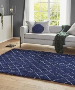 Hoogpolig vloerkleed Archer - blauw/crème - sfeer, thumbnail