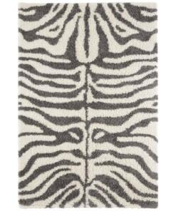 Hoogpolig vloerkleed zebra Moss - crème - overzicht boven