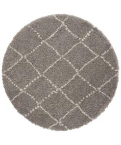 Rond hoogpolig vloerkleed Allure - grijs/crème - overzicht boven, thumbnail