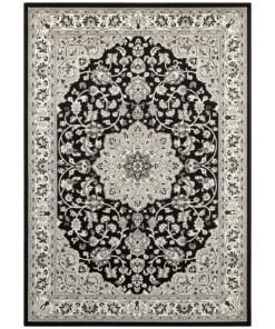 Oosters vloerkleed Keshan - zwart/grijs - overzicht boven