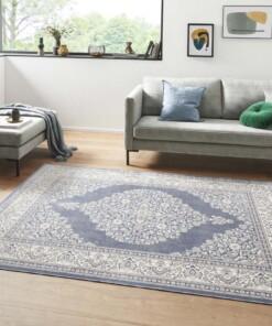 Oosters vloerkleed Keshan Royal - jeansblauw/zilver - sfeer, thumbnail