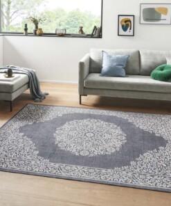 Oosters vloerkleed Floral Orient - antraciet/zilver - sfeer, thumbnail