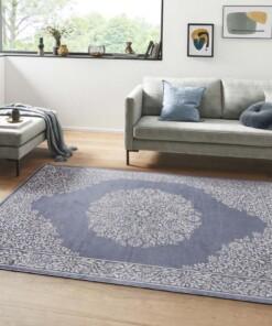 Oosters vloerkleed Floral Orient - jeansblauw/zilver - sfeer, thumbnail