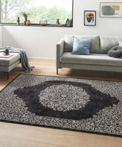 Oosters vloerkleed Floral Orient - zwart/ grijs - sfeer, thumbnail