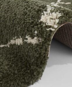 Rond hoogpolig vloerkleed Allure - olijfgroen/crème - close up