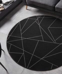 Rond vloerkleed Geometrical - zwart - sfeer, thumbnail