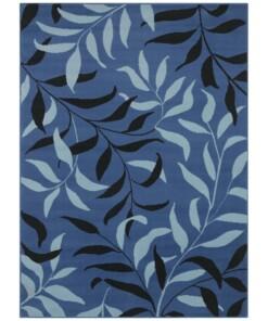 Vloerkleed bladeren - blauw - overzicht boven