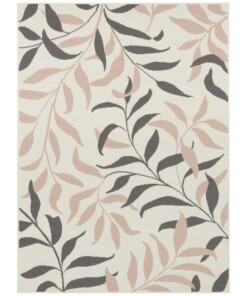 Vloerkleed bladeren - crème/roze - overzicht boven