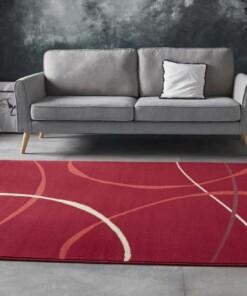 Vloerkleed retro Abstract Circles - rood - sfeer, thumbnail