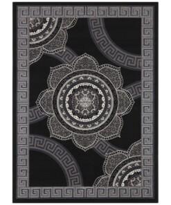 Vloerkleed retro bloem - zwart - overzicht boven