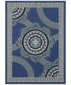 Vloerkleed retro bloem - blauw - overzicht boven