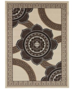 Vloerkleed retro bloem - crème/bruin - overzicht boven
