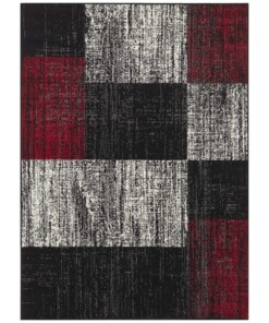 Vloerkleed blokken patchwork - zwart/rood - overzicht boven