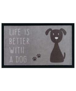 Design deurmat Life whit a Dog wasbaar 30°C - grijs/bruin - overzicht boven