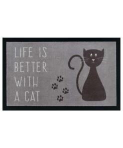 Design deurmat Life whit a Cat wasbaar 30°C - grijs/bruin - overzicht boven