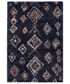 Hoogpolig vloerkleed Phoenix - zwart - overzicht boven, thumbnail