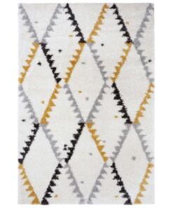 Hoogpolig vloerkleed Lark - crème/goud - overzicht boven, thumbnail