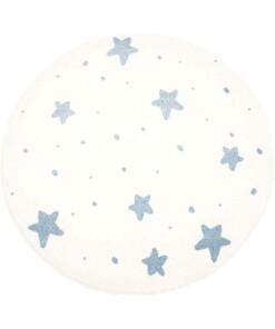 Rond vloerkleed kinderkamer Kleine Sterren 3D - crème/blauw - overzicht boven