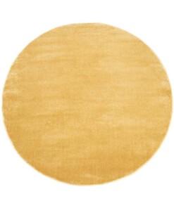 Rond vloerkleed effen velours Gala - geel - overzicht boven