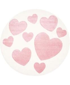 Rond vloerkleed kinderkamer Hartjes 3D - crème/roze - overzicht boven