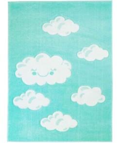 Vloerkleed kinderkamer Wolken 3D - mintblauw - overzicht boven