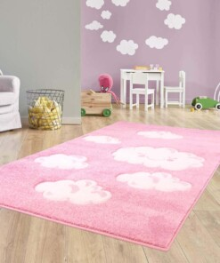 Vloerkleed kinderkamer Wolken 3D - roze - sfeer, thumbnail