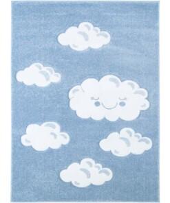 Vloerkleed kinderkamer Wolken 3D - blauw - overzicht boven