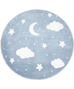 Rond vloerkleed kinderkamer Wolk & Ster 3D - blauw/crème - overzicht boven