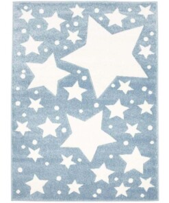Vloerkleed kinderkamer Sterren 3D - blauw/crème - overzicht boven