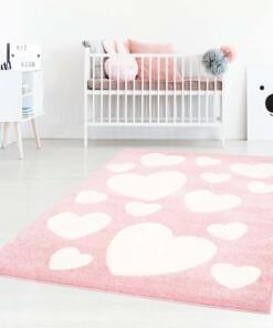 Vloerkleed kinderkamer Hartjes 3D - roze/crème - sfeer, thumbnail