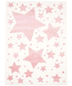 Vloerkleed kinderkamer Sterren 3D - crème/roze - overzicht boven