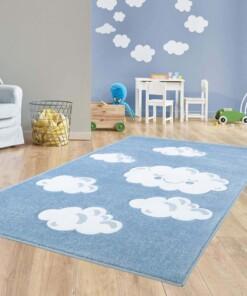 Vloerkleed kinderkamer Wolken 3D - blauw - sfeer, thumbnail