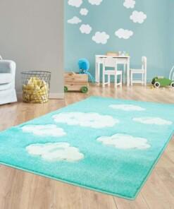 Vloerkleed kinderkamer Wolken 3D - mintblauw - sfeer, thumbnail