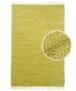 Kelim vloerkleed effen handweef Bomull - beige - overzicht boven, thumbnail