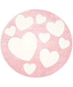 Rond vloerkleed kinderkamer Hartjes 3D - roze/crème - overzicht boven