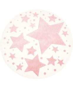 Rond vloerkleed kinderkamer Sterren 3D - crème/roze - overzicht boven