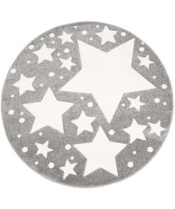 Rond vloerkleed kinderkamer Sterren 3D - grijs/crème - overzicht boven