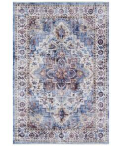 Oosters vloerkleed Tabriz Dewena - blauw - overzicht boven