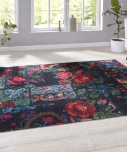 Patchwork vloerkleed rozenkelim Dolnar - rood/multi - sfeer, thumbnail