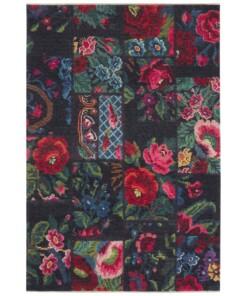 Patchwork vloerkleed rozenkelim Dolnar - rood/multi - overzicht boven