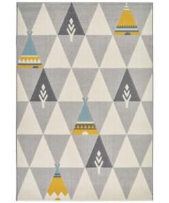 Kinderkamer vloerkleed Playful Prairie - zilver/grijs - overzicht boven, thumbnail