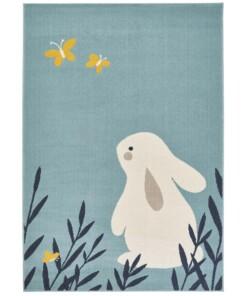Kinderkamer vloerkleed Bunny Lottie - lichtblauw - overzicht boven, thumbnail