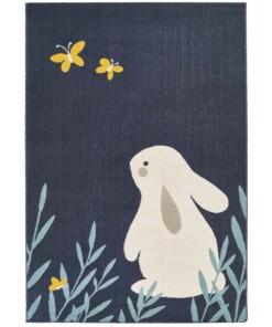 Kinderkamer vloerkleed Bunny Lottie - donkerblauw - overzicht boven, thumbnail